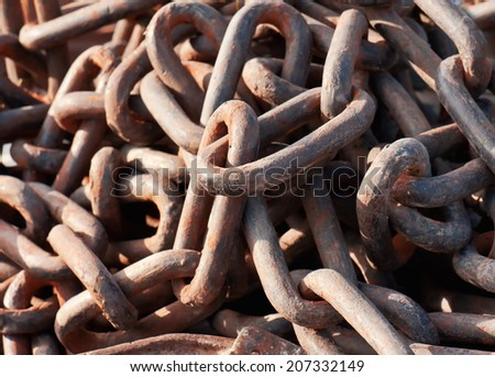 rusty steel chain as a texture - stock photo
