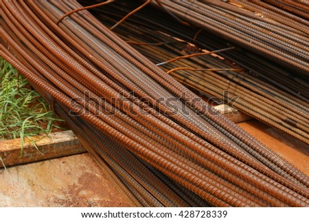 Rusty steel reinforcement bars - stock photo