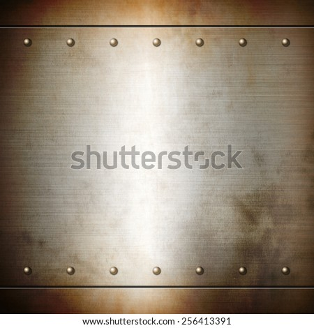 Rusty steel riveted brushed plate background texture. Metal frame background - stock photo