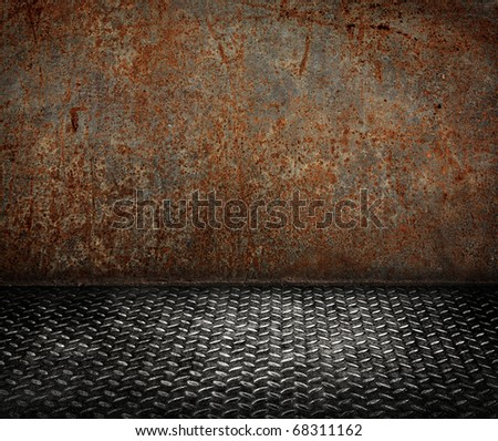 rusty steel room - stock photo