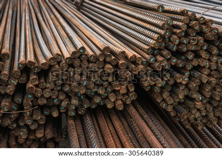 Rusty surface on steel rebar in the construction site. - stock photo