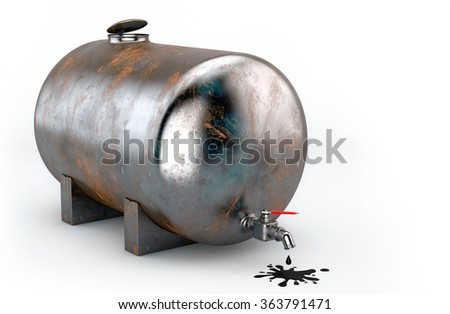 Rusty tank with oil on white background - stock photo