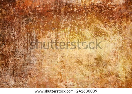 Rusty Texture, Abstract Background, Grunge Dirty Weathered Backdrop in Yellow Colors with spots and grain  - stock photo