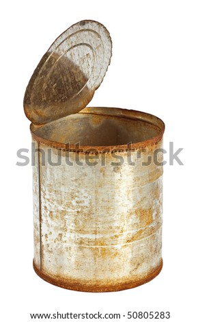 Rusty tin can with top opened isolated on white background - stock photo
