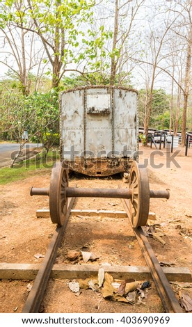 Rusty train,rusty train bogie in Hellfire Pass that was used in the Death Railway construction during the World War II, Kanchanaburi, Thailand. - stock photo