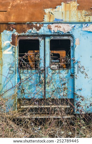 Rusty train wagon out of service - stock photo