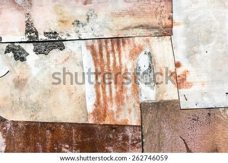 Rusty various metal sheets texture. - stock photo