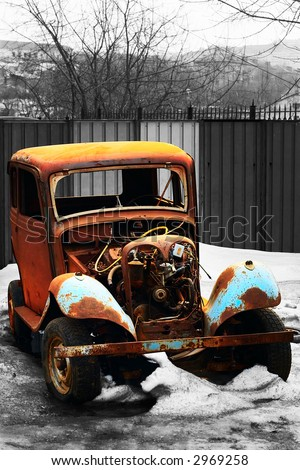 rusty vintage car of an epoch of 1940s - stock photo