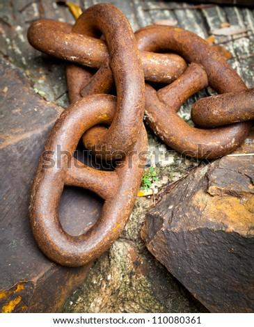rusty vintage design metal chain - stock photo