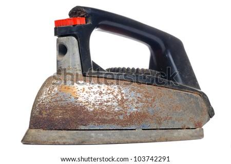 Rusty Vintage Iron Isolated on White Background - stock photo