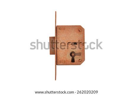 Rusty vintage lock, isolated on white background - stock photo