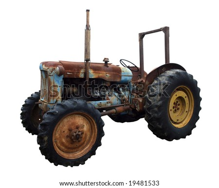 Rusty Vintage Tractor isolated with clipping path - stock photo