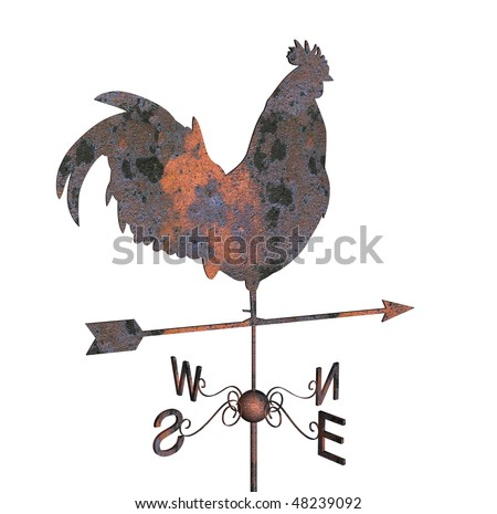 Rusty weather vane on a white background - stock photo
