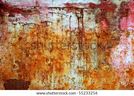rusty weathered painted iron aged metal texture background - stock photo