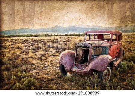 Rusty wrecked car, vintage style