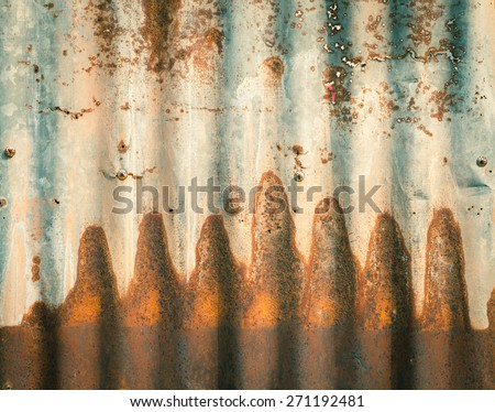Rusty zinc plate wall for background - stock photo