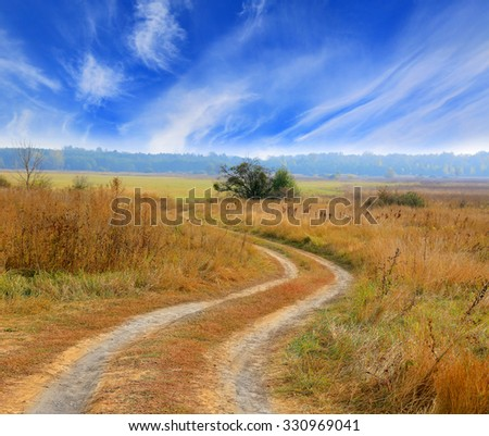 Rut road across autumn meadow under nice sky with clouds - stock photo