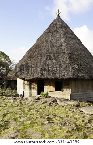 Ruteng Puu, Manggarai district, Flores, Indonesia - August 13 2015 : Traditional house in the traditional village Ruteng Puu, which has a round structure and is typical for the Manggarai district