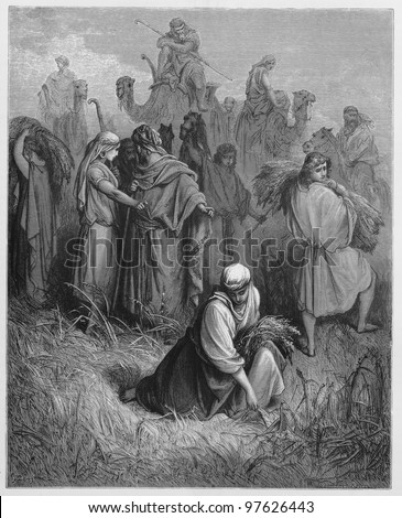 Ruth and Boaz - Picture from The Holy Scriptures, Old and New Testaments books collection published in 1885, Stuttgart-Germany. Drawings by Gustave Dore. - stock photo