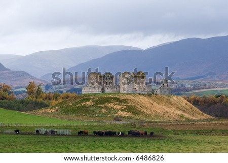 Ruthven Barracks, near Kingussie, Inverness-shire, Scotland, built by the Hanoverians and burnt down by the Jacobites during the 1745 rebellion. - stock photo