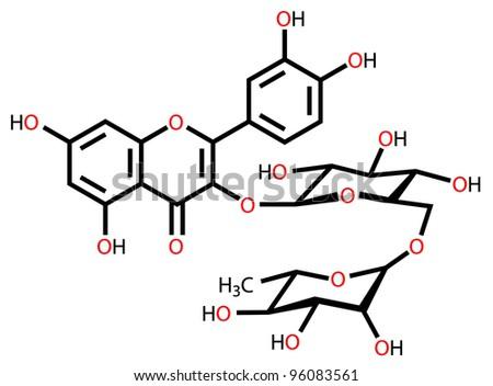 Rutin structural formula drawn on a white background - stock photo