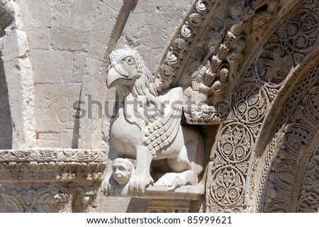 Ruvo (Bari, Puglia, Italy): Old cathedral in Romanesque style, door detail - stock photo