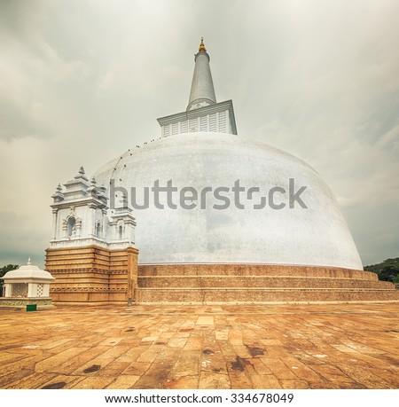 Ruwanwelisaya dagoba in the sacred world heritage city of Anuradhapura, Sri Lanka - stock photo