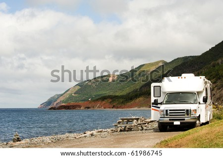 RV at picnic area, Cape Breton Highlands National Park, Nova Scotia - stock photo