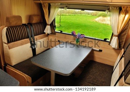 RV (camper, motorhome, caravan) interior - stock photo
