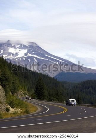 RV travel on highway - stock photo