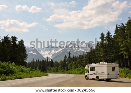 RV with an amazing view - stock photo