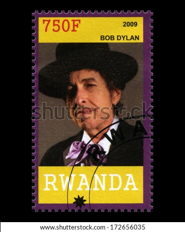 RWANDA, AFRICA - CIRCA 2009: A postage stamp from Rwanda of music legend Bob Dylan, circa 2009. - stock photo