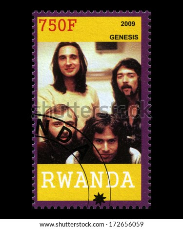 RWANDA, AFRICA - CIRCA 2009: A postage stamp from Rwanda of the pop band Genesis, circa 2009. - stock photo