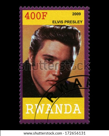 RWANDA, AFRICA - CIRCA 2009: A postage stamp from Rwanda portraying an image of Elvis Presley, circa 2009. - stock photo