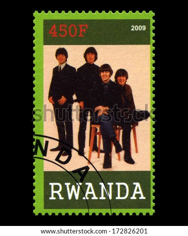RWANDA, AFRICA - CIRCA 2009: A postage stamp from Rwanda portraying an image of The Beatles, circa 2009. - stock photo