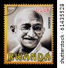 RWANDA - CIRCA 2009: A postage stamp printed in Rwanda showing Mohandas Karamchand Gandhi, circa 2009 - stock photo