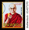 RWANDA - CIRCA 2000: A postage stamp printed in Rwanda showing the Dalai Lama, circa 2000 - stock photo