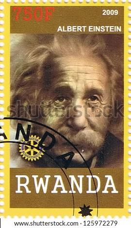 RWANDA - CIRCA 2009: A postage stamp printed in the Republic of Rwanda showing Albert Einstein, circa 2009 - stock photo