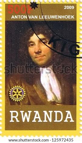 RWANDA - CIRCA 2009: A postage stamp printed in the Republic of Rwanda showing Antonie van Leeuwenhoek, circa 2009 - stock photo