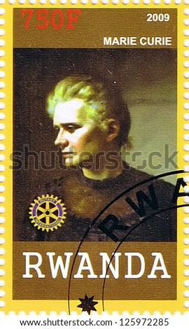 RWANDA - CIRCA 2009: A postage stamp printed in the Republic of Rwanda showing Marie Curie, circa 2009 - stock photo
