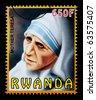 RWANDA - CIRCA 2000: A postage stamp printed in the Rwanda showing Mother Teresa, circa 2000 - stock photo