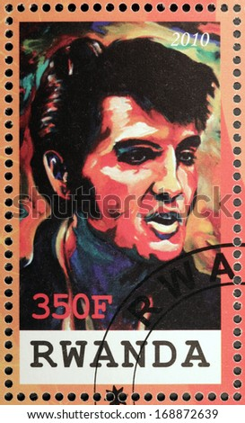 RWANDA - CIRCA 2010: A stamp printed by Republic of RWANDA shows image portrait of famous American singer Elvis Aaron Presley, circa 2010 - stock photo