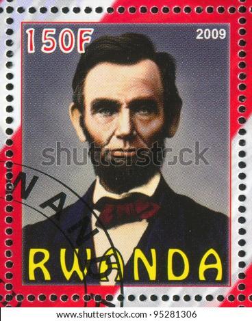 RWANDA - CIRCA 2009: A stamp printed by Rwanda, shows Abraham Lincoln, circa 2009 - stock photo