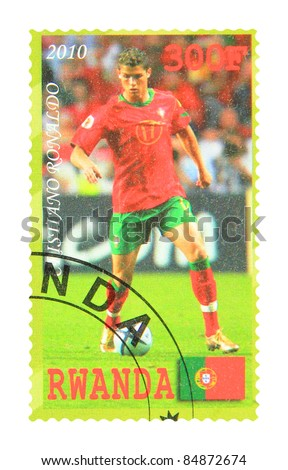 RWANDA - CIRCA 2010: A stamp printed in Rwanda showing Cristiano Ronaldo, circa 2010 - stock photo
