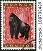 RWANDA - CIRCA 1985: A stamp printed in Rwanda showing gorilla, circa 1985 - stock photo