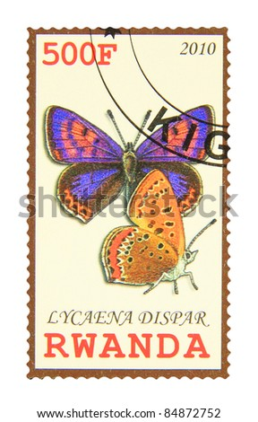 RWANDA - CIRCA 2010: A stamp printed in Rwanda showing Large Copper butterfly, circa 2010 - stock photo
