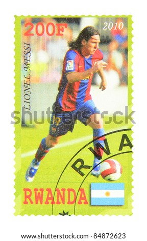RWANDA - CIRCA 2010: A stamp printed in Rwanda showing Lionel Messi, circa 2010 - stock photo