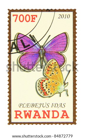 RWANDA - CIRCA 2010: A stamp printed in Rwanda showing Northern Blue butterfly, circa 2010 - stock photo