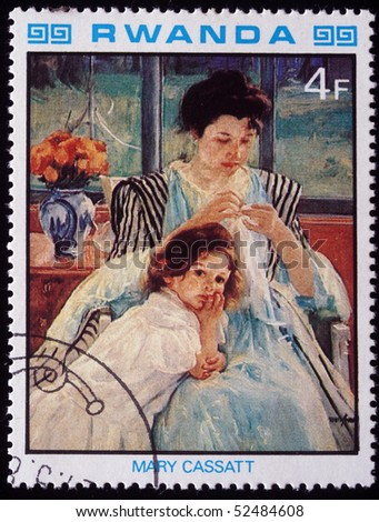 RWANDA - CIRCA 1984: A stamp printed in Rwanda shows draw by artist  Mary Cassatt - Young Mother Sewing, circa 1984