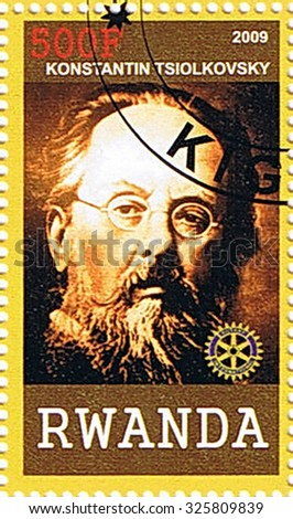 RWANDA - CIRCA 2009: A stamp printed in Rwanda shows Konstantin Tsiolkovsky, series, circa 2009 - stock photo